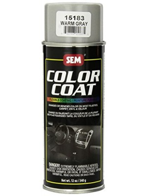 (4-in-1) SEM 15183 Warm Gray Color Coat - 12 oz.. + Treated Cleaning Sponge + Quick-Dry Microfiber Towel + SEM Color Charts