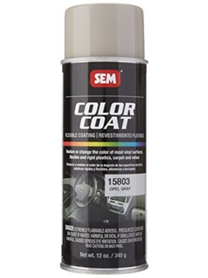 (4-in-1) SEM 15803 Opal Gray Color Coat - 12 oz. + Treated Cleaning Sponge + Quick-Dry Microfiber Towel + SEM Color Charts